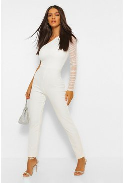 Ivory white One Shoulder Skinny Leg Jumpsuit