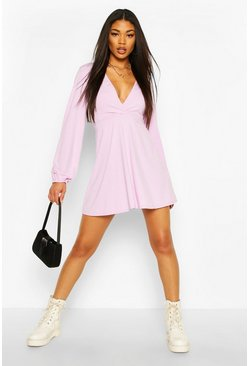 Lilac purple Jumbo Rib Plunge Balloon Sleeve Skater Dress
