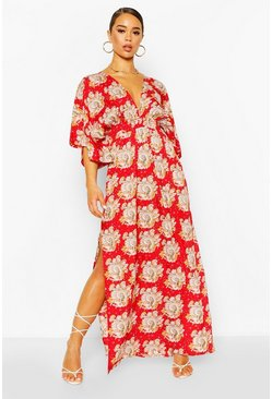 Red Paisley Kimono Sleeve Plunge Split Maxi Dress