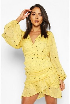 Mustard yellow Folk Dobby Sparkle Mesh Wrap Ruffle Mini Dress