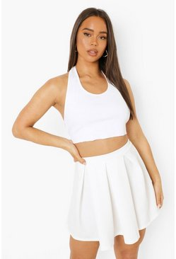 Ivory white Pastel Jersey Pleated Tennis Skirt