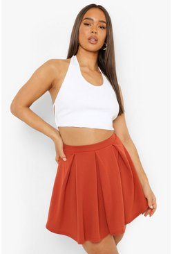 Terracotta Pastel Jersey Pleated Tennis Skirt