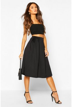 Black Scuba Midi Box Pleat Skater Skirt