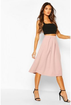 Fawn beige Scuba Midi Box Pleat Skater Skirt