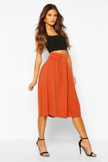 Terracotta orange Scuba Midi Box Pleat Skater Skirt