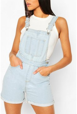 Salopette short en jean, Light blue bleu