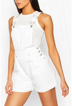White Denim Dungaree Short