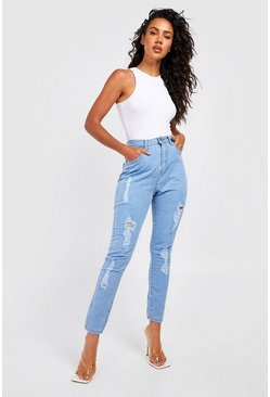Light blue blue High Rise Super Distressed Skinny Jeans
