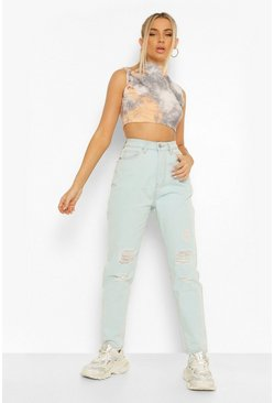 Light blue blue Mid Rise Super Distressed Boyfriend Jean