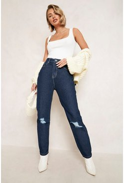 Indigo blue High Waist Distressed Mom Jeans