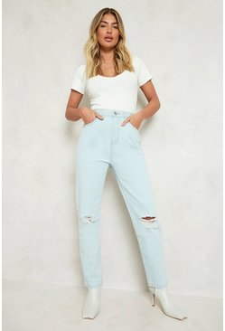 Light blue High Waist Distressed Mom Jean