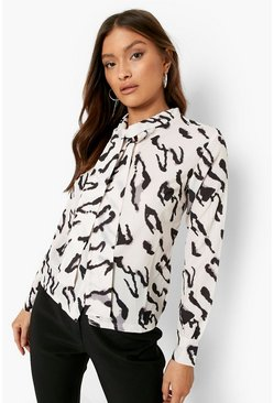 Nude Woven Animal Print Pussy Bow Blouse
