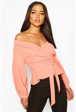 Peach Off The Shoulder Wrap Top