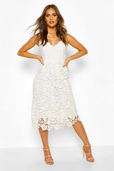 White Strappy Crochet Lace Skater Midi Dress
