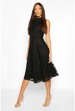 Black High Neck Lace Midi Skater Dress