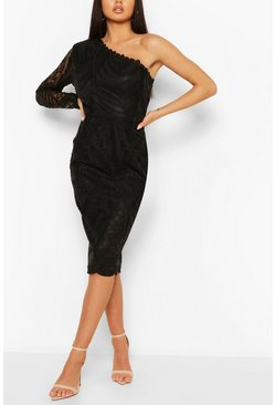 One Sleeve Corded Lace Bodycon Midi Dress, Black negro