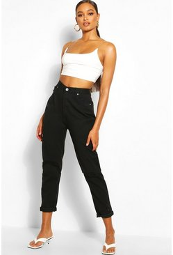 Black Mid Rise Distressed Boyfriend Jean
