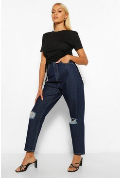 Indigo blue Mid Rise Distressed Boyfriend Jean