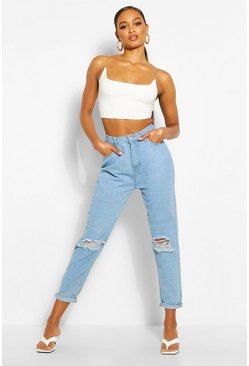 Mid Rise Distressed Boyfriend Jean, Light blue Синий