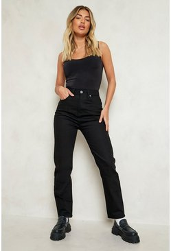 High Rise Mom Jean, Black negro