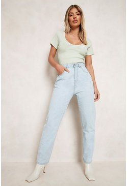 Lichtblauw blue High Rise Mom Jeans