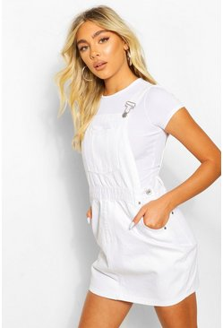 Denim Pinafore Dress, White blanco