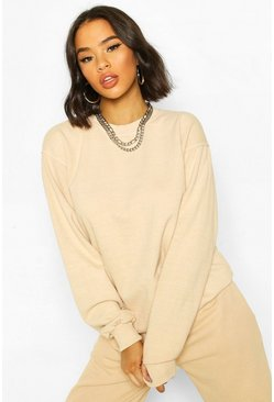 Zand beige Gewassen oversized sweat