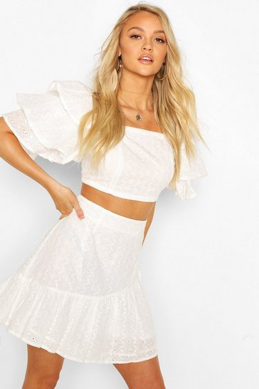 White Broiderie Ruffle Sleeve And Skirt Co-ord