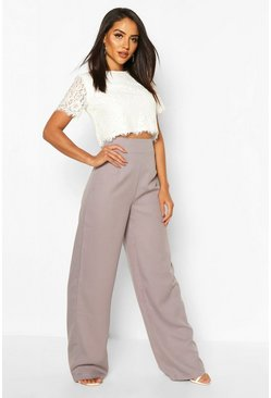 Grey Woven Lace Top And Trouser Co-ord Set