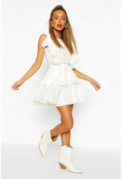 White Broiderie Anglaise Ruffle Layered Skater Skirt