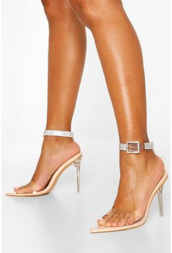 Nude Embellished Belt Strap 2 Part Heels