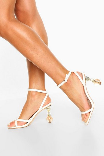 White Ornament Heel Strappy Sandals