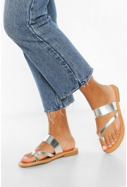 Silver Toe Post Sandals