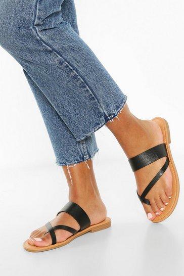 Black Toe Post Sandals