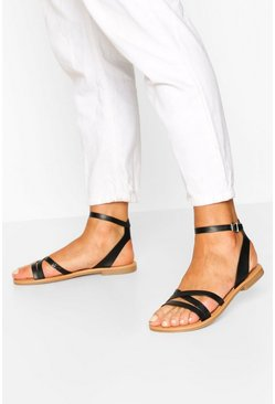 Black Triple Band Snake Detail Sandals