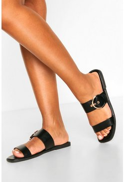 Black Buckle Detail Square Toe Sliders