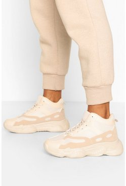 Sand beige Bubble Sole Chunky High Top Trainers