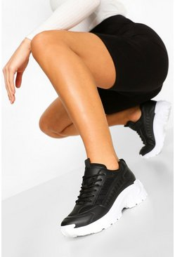 Black Cleated Sole Chunky Trainers