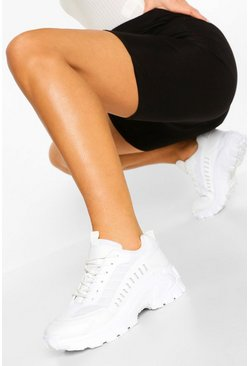 White Cleated Sole Chunky Trainers