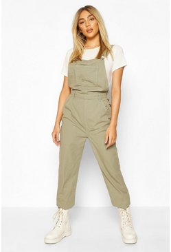 Khaki Denim Boyfriend Dungaree