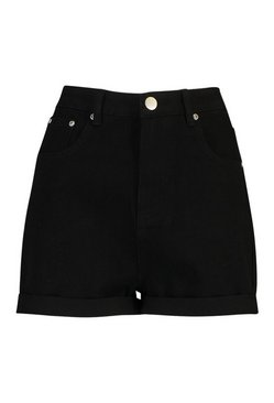 Black High Waist Roll Hem Mom Short