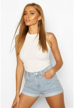 Light blue High Waist Roll Hem Mom Short