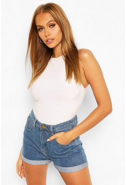 Mid blue blue High Waist Roll Hem Mom Short