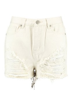 Ecru High Waisted Distressed Mom Short