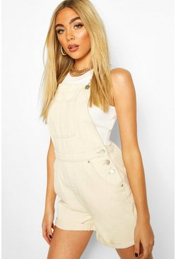 Ecru Denim Dungaree Short
