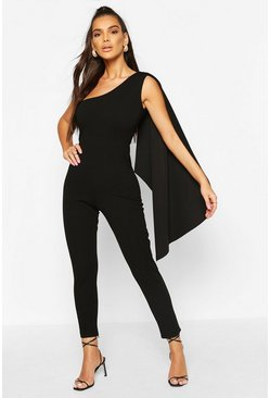 Black One Shoulder Drape Detail Jumpsuit