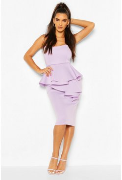 Lilac purple Bonded Scuba Bandeau Ruffle Midi Dress