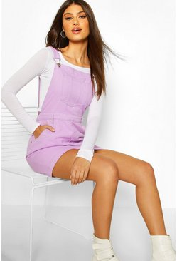 Lilac purple Denim Pinafore Dress