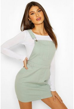 Mint green Denim Pinafore Dress