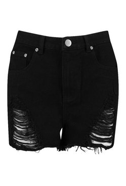 Black High Waist Distressed Mom Short